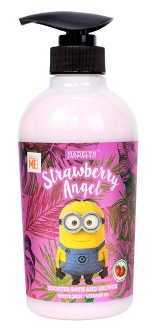 Minion Booster Shower Cream Strawberry Angel เป็นผลิตภัณฑ์อาบน้ำที่มีกลิ่นหอมของผลไม้ ให้ฟองครีมนุ่มละเอียด ล้างออกง่าย ขนาด 500 มล. ราคา 259 บาท จาก Madelyn