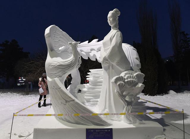 ประติมากรรมหิมะ ของนักศึกษามหาวิทยาลัย North Minzu University  ได้รางวัล First Prize