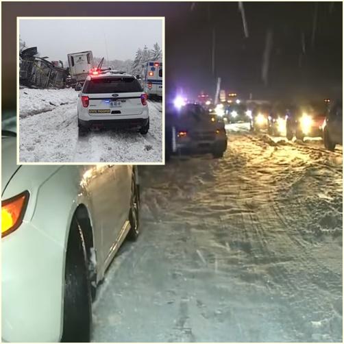 "In Pics: พายุหิมะเจียเล่นงานแถบมิดเวสต์สหรัฐฯ ดับ 7  ""รัฐมิสซูรี"" เจอรถชนกันกลางถนน 800 ครั้ง ส่วนอีก 1,790 คันติดแหงกไปไหนไม่ได้"