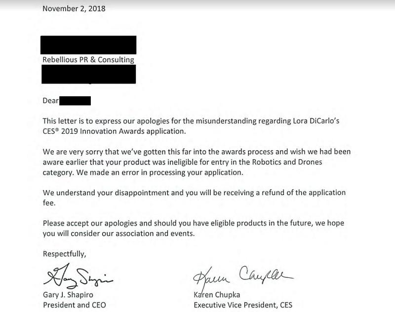 CES ตัดสินใจยกเลิกรางวัลในเดือนตุลาคม พร้อมกับส่งจดหมายชี้แจง