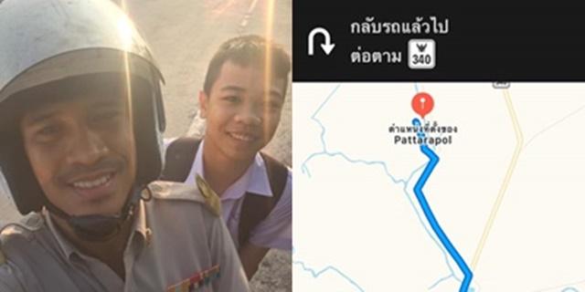 นักเรียนขอลาหยุด เหตุไม่มีผู้ปกครองมาส่ง ครูหนุ่มอาสาขี่รถกว่า 10 กิโลเมตร พามาเข้าเรียน