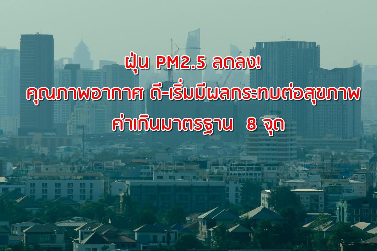 ฝุ่น PM2.5 ลดลง!  คุณภาพอากาศ ดี-เริ่มมีผลกระทบต่อสุขภาพ ค่าเกินมาตรฐาน  8 จุด
