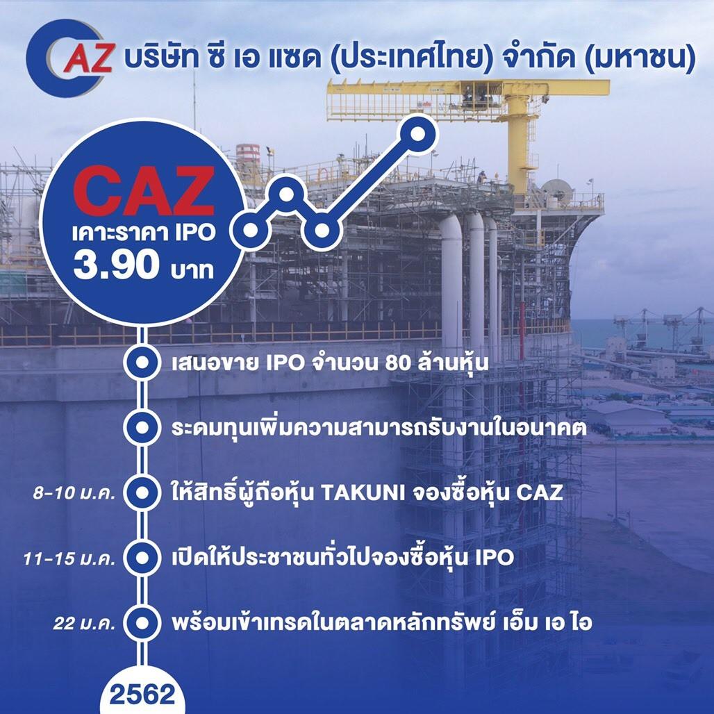 CAZ ขายหุ้น IPO หมดเกลี้ยง พร้อมเทรด 22 มกราคมนี้ มั่นใจพื้นฐานดี
