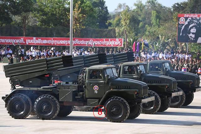 BM-21 กราด จากโซเวียต ใช้จรวด 122 มม. เช่นเดียวกันกับ SR5 จากจีน. -- ภาพโดยวิทยุกระจายเสียงแห่งชาติลาว.