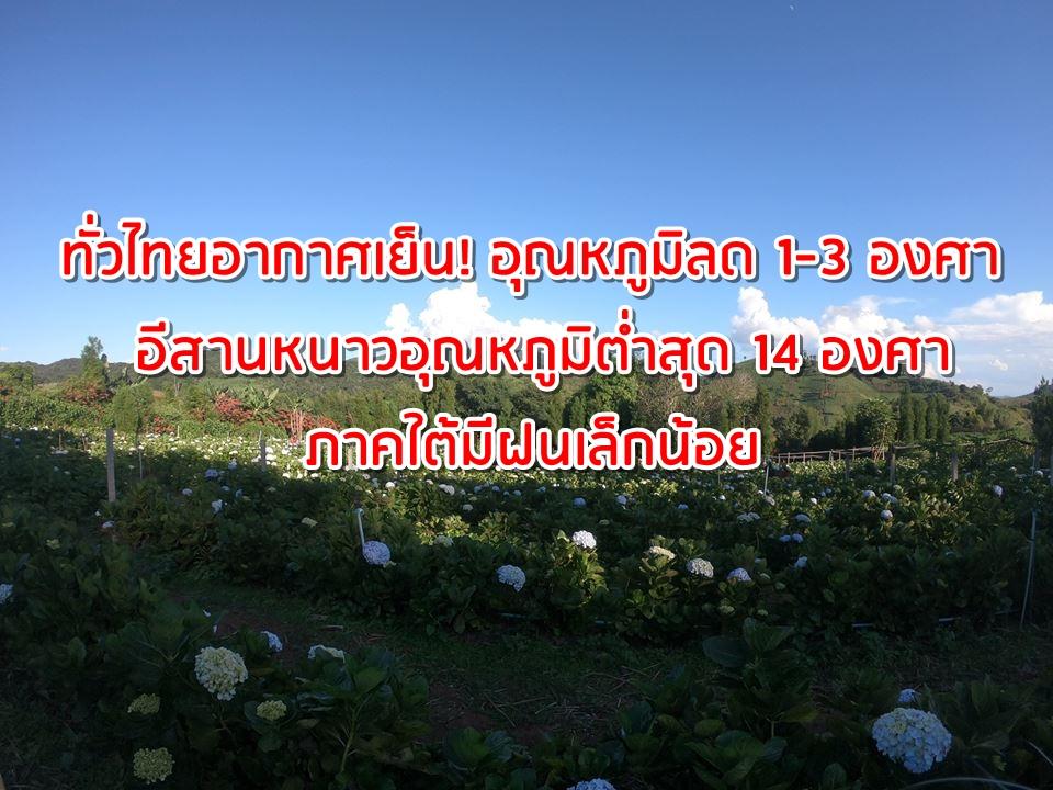 ทั่วไทยอากาศเย็น! อุณหภูมิลด 1-3 องศา อีสานหนาวอุณหภูมิต่ำสุด 14 องศา ภาคใต้มีฝนเล็กน้อย