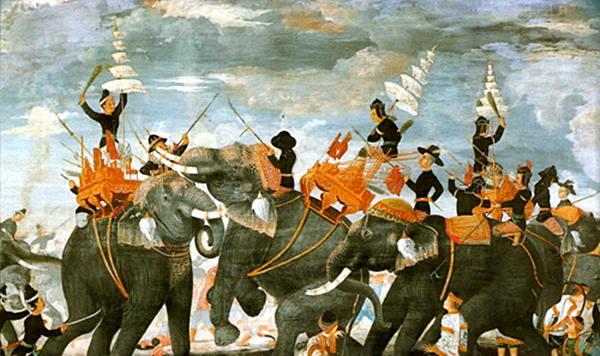 สมเด็จพระสุริโยทัยไสช้างเข้าขวาง จิตรกรรรมฝีพระหัตถ์สมเด็จฯ กรมพระยา