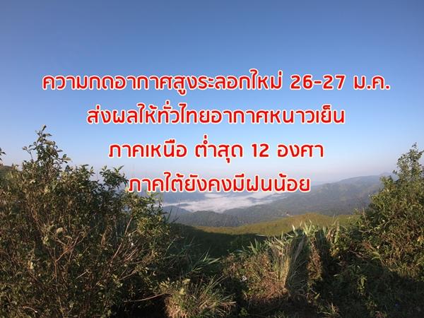 ความกดอากาศสูงระลอกใหม่ 26-27 ม.ค. ส่งผลให้ทั่วไทยอากาศหนาวเย็น  ภาคเหนือ ต่ำสุด 12 องศา ภาคใต้ยังคงมีฝนน้อย