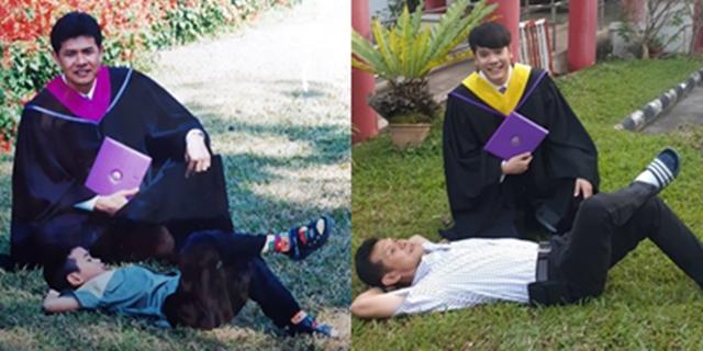 สุดน่ารัก! ลูกชายโพสต์เปรียบเทียบระหว่างพ่อกับลูกรับปริญญา สิ้นสุดการรอคอย 16 ปี