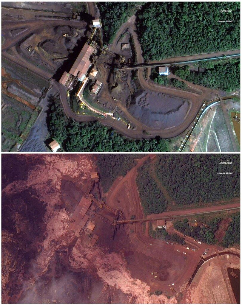 <i>ภาพถ่ายจากดาวเทียมเปรียบเทียบพื้นที่เมืองบรูมาดินโญ เมื่อวันที่ 2 มิ.ย. 2018 (ภาพบน)  หลายๆ เดือนก่อนหน้าเขื่อนเก็บหางแร่แห่งหนึ่งในบริเวณนี้แตก และดินโคลนน้ำเสียจากเหมืองแร่ไหลทะลักเข้าท่วมท้นพื้นที่รอบๆ ดังที่พบเห็นเมื่อวันเสาร์ (26 ม.ค.) (ภาพล่าง) </i>