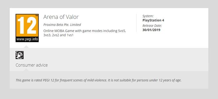 """เว็บจัดเรตโผล่ชื่อ """"RoV"""" เตรียมลง PS4"""