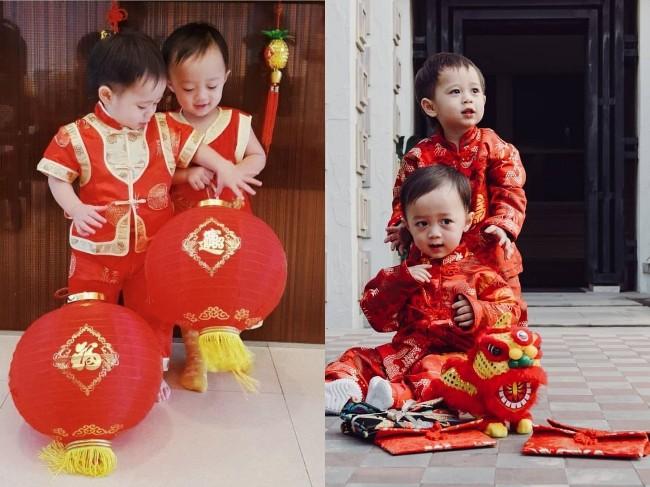"""น่ารักสุดๆ """"สายฟ้า - พายุ"""" แต่งชุดแดงอวยพรตรุษจีน"""