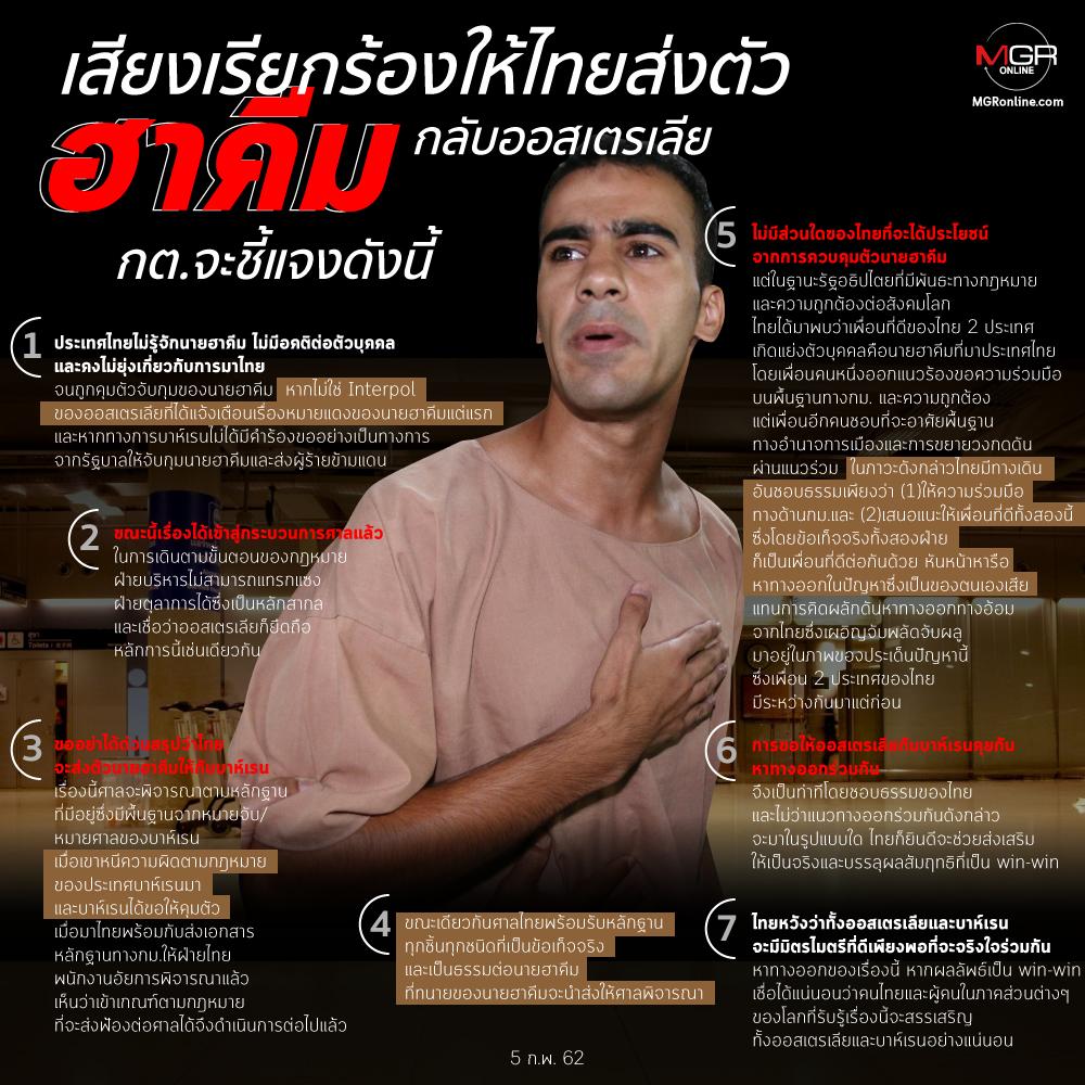 เสียงเรียกร้องให้ไทยส่งตัวนายฮาคีมกลับออสเตรเลีย กต.จะชี้แจงดังนี้