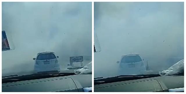 เผาไร่อ้อยควันท่วมถนน บดบังวิสัยทัศน์กระทบผู้ใช้รถหวั่นเกิดอุบัติเหตุ