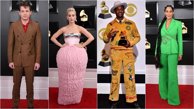 Charlie Puth กับชุดจาก Prada, Katy Perry กับเดรสจาก Balmain , Leon Bridges ในชุดของ Bode และ Tracee Ellis Ross ในชุดของ Ralph & Russo