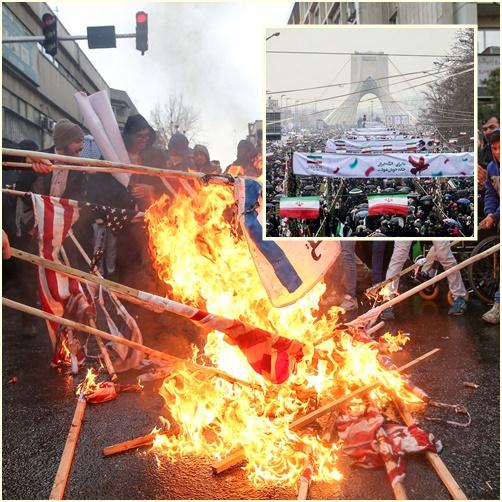 "InPics :40 ปีปฎิวัติอิหร่านสุดมัน มีเผาธงชาติสหรัฐฯ-การ์ดพิทักษ์ปฎิวัติอิหร่าน ยื่นคำขาด ""โดนมะกันโจมตี จะลุยเทลอาวีฟให้ราบ""  โรฮานีขยายกำลังกองทัพพร้อมมิสไซล์"