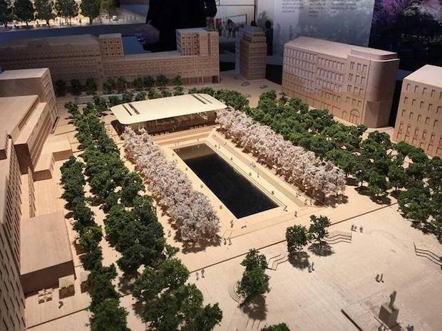 โมเดลสำหรับแผนสร้างแอเปิ้ลสโตร์ที่สวนสาธาณะคุงสตราการ์เดน ในสต๊อกโฮล์ม เมืองหลวงของสวีเดน
