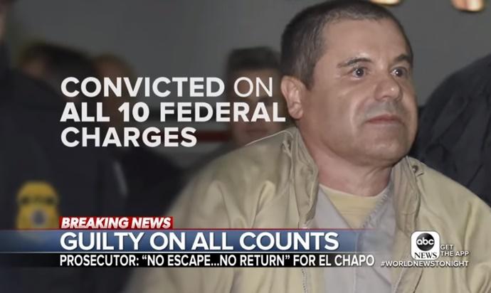 """In Pics: เจ้าพ่อค้ายาเสพติดเม็กซิโกชื่อดัง """"เอล ชาโป"""" ถูกศาลสหรัฐฯตัดสินผิดทุกข้อหา มีสิทธิ์ถูกส่งเข้า """"คุกซุปเปอร์แม็กซ์"""" ภรรยาคนสวยร่วมรับฟัง"""