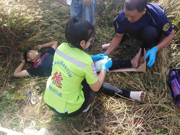 รถไฟกรุงเทพฯ-ปาดังฯ ชนมอ'ไซค์หนุ่มพม่าขาหัก บนถนนตัดผ่านทางรถไฟหาดใหญ่