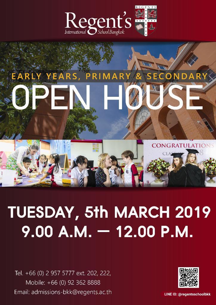 """ร.ร.นานาชาติรีเจ้นท์กรุงเทพ จัดงาน """"Open House"""" เปิดโอกาสผู้ปกครองเยี่ยมชมการเรียนการสอนหลักสูตรอังกฤษสำหรับนักเรียนระดับชั้นอนุบาล-ประถมศึกษา-มัธยมศึกษา"""