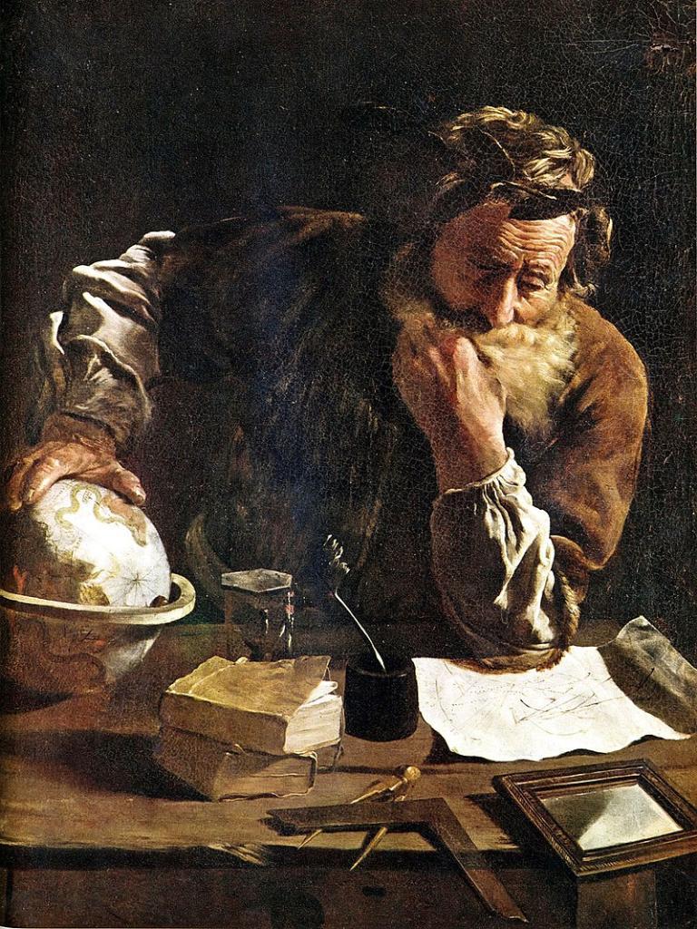ภาพวาด Archimedes ขณะครุ่นคิด วาดโดย  Domenico Fetti ในปี 1620)