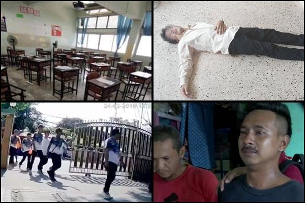 (ล่างซ้าย) กลุ่มอันธพาลจากงานบวชบุกทำร้ายครูและนักเรียนโรงเรียนมัธยมวัดสิงห์ (ล่างขวา) นายวัลลภ นุชแฟง หรือเอกไฝ หัวโจกของกลุ่มที่ยกพวกบุกโรงเรียนมัธยมวัดสิงห์ (บน) หนึ่งในครูที่ถูกทำร้ายบาดเจ็บ