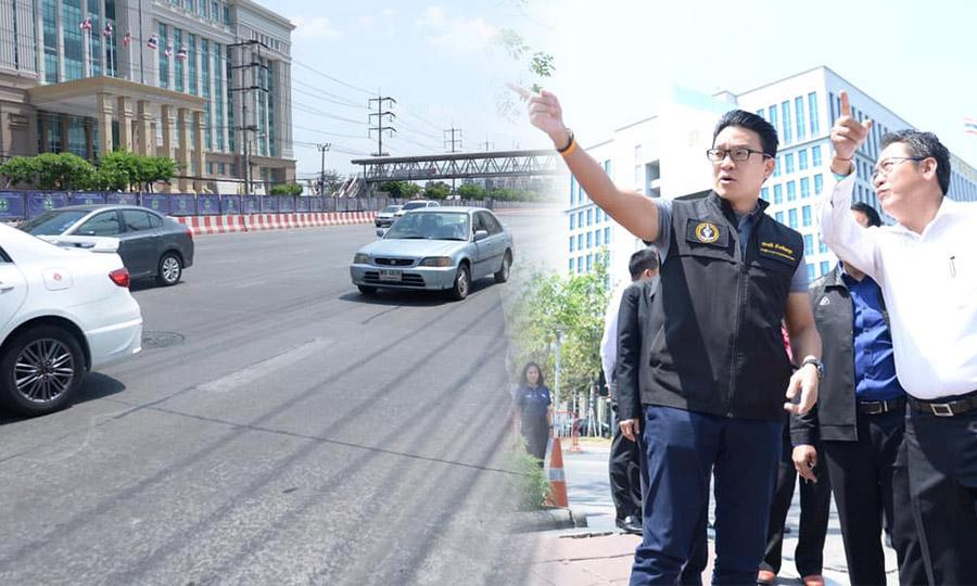 """กทม.เล็งสร้างถนน-สะพานเข้าออก """"ศูนย์ราชการ"""" แก้รถติดแจ้งวัฒนะ ขอผู้รับเหมาเปิดเลนจุดยังไม่สร้างรถไฟฟ้าสีชมพู"""