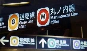 สีและชื่อสายต่าง ๆ ของรถไฟใต้ดินบริษัท Tokyo Metro  ภาพประกอบจาก https://blog.goo.ne.jp/nmz0210/