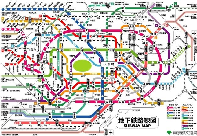 แผนที่รถไฟใต้ดิน  ภาพจาก https://matome.naver.jp/odai/