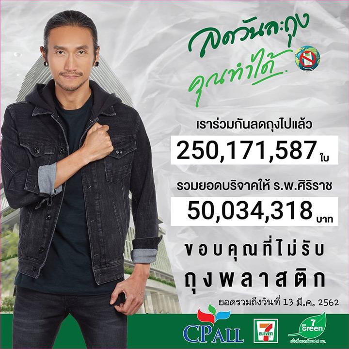 """250 ล้านถุง 50 ล้านบาท! พลังคนไทยรักษ์สิ่งแวดล้อมดันยอดบริจาคแคมเปญ """"ลดวันละถุง คุณทำได้""""  ที่ร้านเซเว่นฯ พุ่งกระฉูด"""
