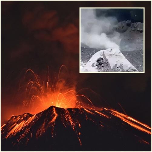 """In Clips: """"ภูเขาไฟโปโปคาเตเปตีเปเติล"""" ในเม็กซิโกเกิดระเบิด ส่งเถ้าถ่านขึ้นฟ้า 1.2 กิโลฯ เห็นลาวาแดงไหลจากปากปล่องแต่ไกล"""