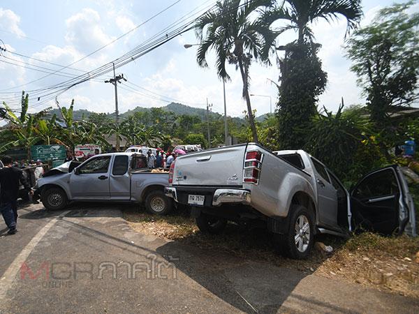 เกิดเหตุรถกระบะชนกันที่พัทลุงมีผู้เสียชีวิต 2 ราย บาดเจ็บเพียบ