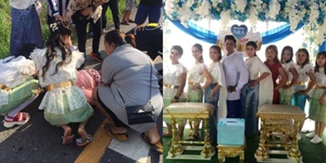 """""""กู้ภัยนางฟ้า"""" ชาวเน็ตชื่นชมเพื่อนเจ้าสาว เหตุสวมชุดไทยช่วยเหลือคนเจ็บ"""