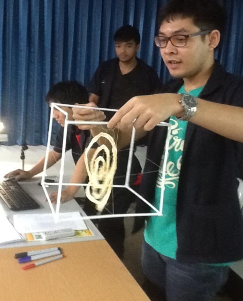 ตัวอย่างผลงานนักศึกษาการบูรณาการเชื่อมโยงกับฟิสิกส์ วิศวกรรมศาสตร์และเทคโนโลยี.