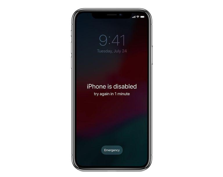 ภาพการล็อคหน้าจอของ iPhone เมื่อมีการกรอกรหัสผ่านผิด
