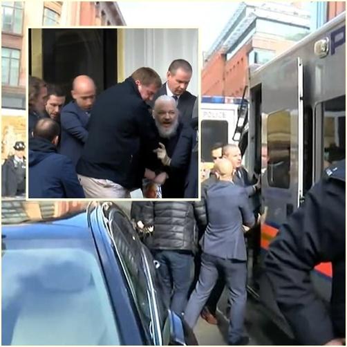 "In Clips: ชมภาพวินาที  เจ้าพ่อวิกิลีกส์ ""จูเลียน แอสซานจ์"" ถูกตำรวจอังกฤษลากตัวออกมาจากสถานทูตเอกวาดอร์ หลังโดนถอนสถานะผู้ลี้ภัย"