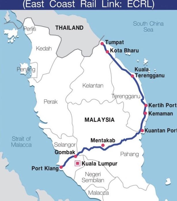 <i>แผนที่แสดงให้เห็นแนวเส้นทางที่เสนอกันไว้ก่อนหน้านี้ของเส้นทางรถไฟสาย ECRL (ข้อมูลจากเฟซบุ๊ก) </i>