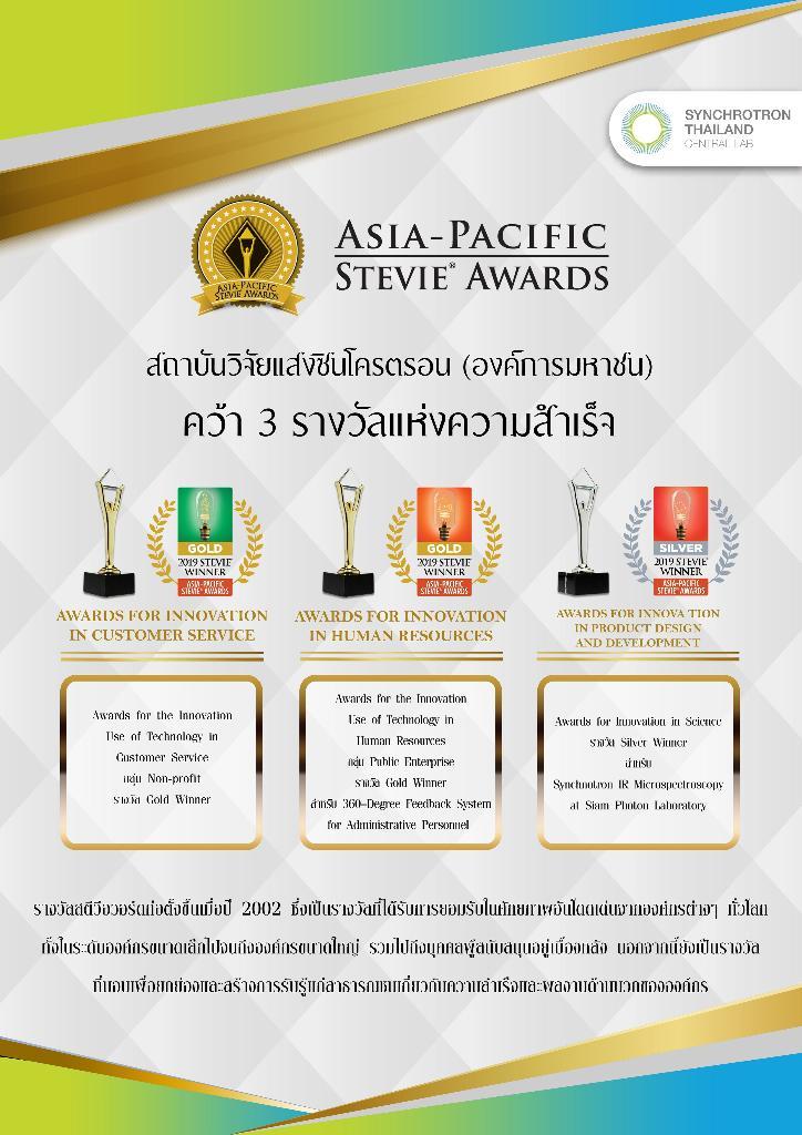 ซินโครตรอน คว้า The Asia-Pacific Stevie Awards 3 รางวัล