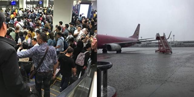 ภาพความวุ่นวายหลังฝนถล่มดอนเมือง ผู้โดยสารแออัด หลายสายการบินดีเลย์กว่า 4 ชั่วโมง