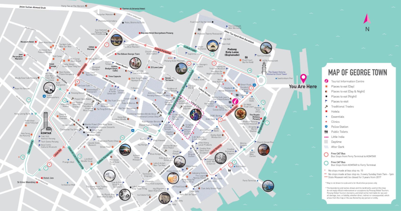 แผนที่เส้นทางรถเมล์ CAT ในย่านจอร์จทาวน์ ปีนัง (ภาพจาก การท่องเที่ยวมาเลเซีย)