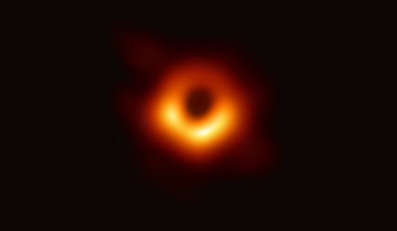 ภาพถ่ายหลุมดำเครือข่ายกล้องโทรทรรศน์วิทยุอีเวนต์ฮอไรซัน (Event Horizon Telescope : EHT)  ภาพจาก https://eventhorizontelescope.org