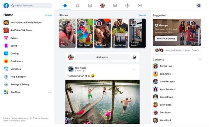 การเลือกใช้สีขาวโปร่งสบาย การวางบริการ Stories ที่วางไว้กึ่งกลางหน้าเพจ และการวางแท็บไว้บนแถวกลางของหน้า ล้วนทำให้ Facebook ยุคใหม่มองเหมือน Instagram