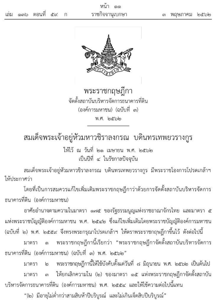 โปรดเกล้าฯ พ.ร.ฎ.จัดตั้งสถาบันบริหารจัดการ ธนาคารที่ดิน ไม่เกิดผลยกเลิกได้