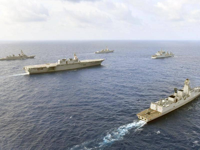 สหรัฐฯ ญี่ปุ่น อินเดีย ปินส์ จับมือซ้อมรบร่วมในทะเลจีนใต้เย้ยปักกิ่ง
