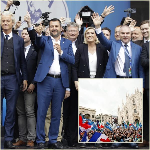 "In Pics&Clips: เป็นประวัติศาสตร์ !! ""ซาลวินี รมว.มหาดไทยอิตาลี"" จับมือ ""มารีน เลอแปน"" เดินขบวนรวม 11 พรรคชาตินิยมขวาจัดทั้งทวีป สู้ศึกเลือกตั้งรัฐสภายุโรป"