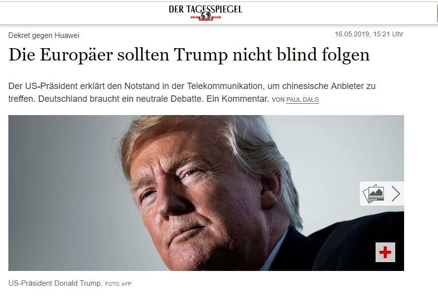 สื่อเยอรมันชี้ ยุโรปอย่าหลับหูหลับตา ตามคำสั่งทรัมป์ ยกเลิกหัวเว่ย