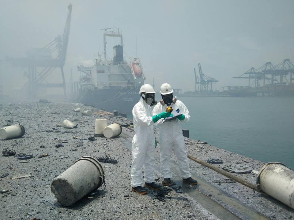 คพ. พบสาร 2 ชนิด ไฟไหม้ตู้คอนเทนเนอร์ ท่าเรือแหลมฉบัง เตือนสารฟุ้งส่งผลกระทบต่อสุขภาพ