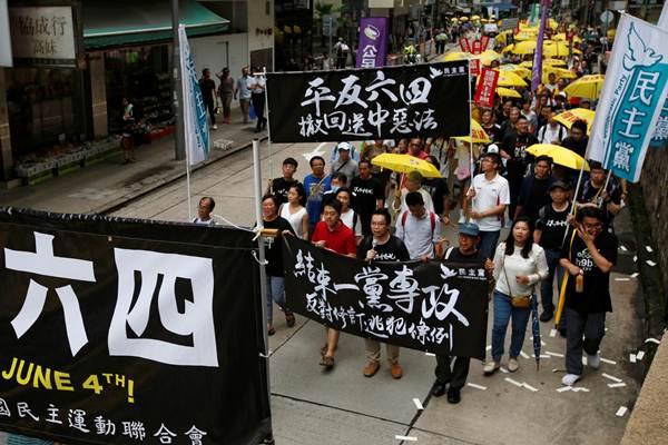 กลุ่มประท้วงนับพันในฮ่องกง ร้องจีนรับผิดชอบเหตุปราบปรามนองเลือดที่เทียนอันเหมิน'1989