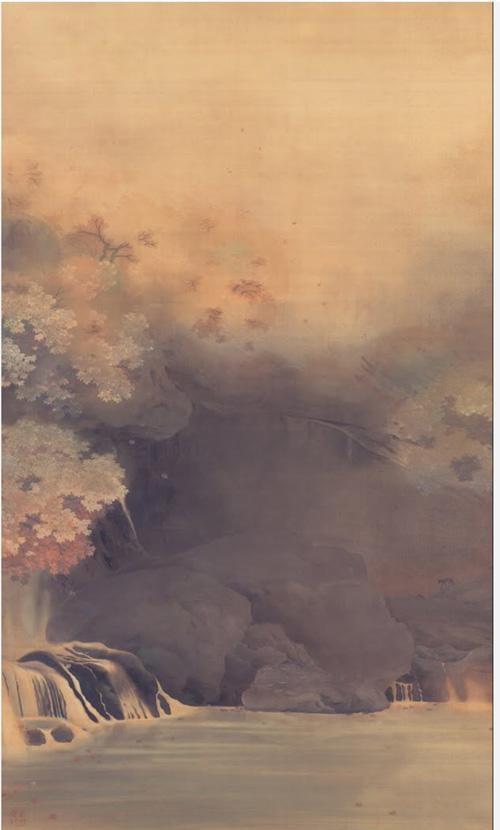 """""""ทิวทัศน์ฤดูใบไม้ร่วง"""" (秋景;Shūkei) ตัวอย่างการใช้เทคนิคโมโรไตของชุนโซ"""