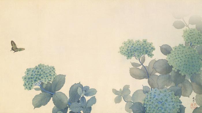 """""""อาจิไซ"""" (54.5 × 112.2 ซม.) ผลงานของฮิชิดะ ชุนโซ"""