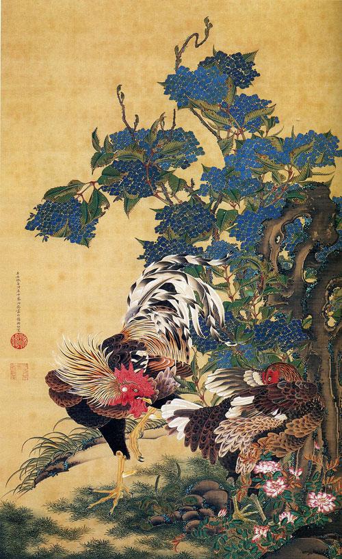 """""""อาจิไซกับไก่สองตัว"""" ผลงานสมัยเอโดะ โดยอิโต จากูจู"""